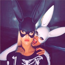 Wholesale Black Bunny Mask - X-MERRY TOY Party Mask Masquerade Rabbit Mask Sexy Bondage Bunny Long Ears Carnival Halloween Costume Party Halloween Mask Decoration