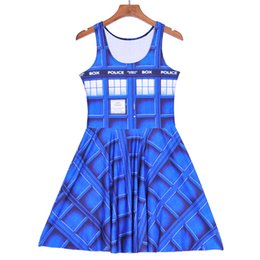 Wholesale Sexy Police S - 2018 NEW 1180 Summer Sexy Girl Skater Vest Dress Fashion tardis police box plaid 3D Prints Women Beach Pleated Dress Plus Size