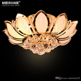 Wholesale Lotus Flower Ceiling Light - Gorgeous Lotus Flower Ceiling Light Crystal Lampshade Ceiling Lamp for Living Room Bedroom Lustres lamparas de techo abajur