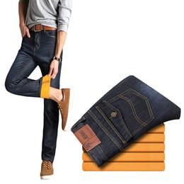 Wholesale Thick Fleece Pants Men 3xl - Wholesale-Winter plus thick velvet jeans denim trousers high quality men's jeans straight men's pants weatherization style
