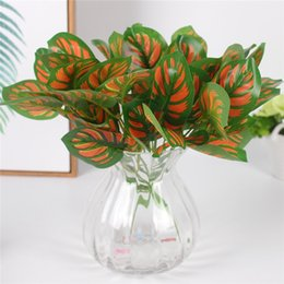 Wholesale Green Apple Decor - Simulation apple leaves 3 colors green artificial fake plant hotel plant wall decor accessories wedding decoration for home 1pcs