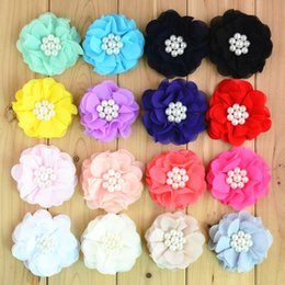 Wholesale Sewing Center - Free shipping 30pcs lot 2.8 inch Boutique Ballerina Chiffon Flowers Sew With Pearl Center For girls Hair Accessories MH68