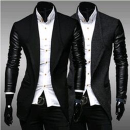 Wholesale Male Leather Wool Clothing - Wholesale- New 2017 Sspring And Autumn Men's Clothing Leather Slim Woolen Outerwear Male Nedium-long Trench Black Outerwear