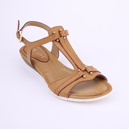 Wholesale Wedges Sandals Simple - HEYIYI Flat Sandal Wedge Heel Simple Rome Style Soft Insole Buckle Strap Large Size T-Strap Women Shoes Summer Beach Black Color