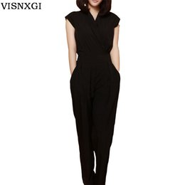 Wholesale Trousers For Womens - Wholesale- Feminino Jumpsuit Female Rompers Womens Sexy Bodycon Chiffon One Piece Jumpsuits Fashion Solid Overalls For Women Trousers S151