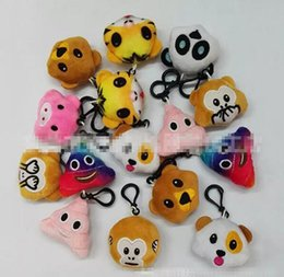 Wholesale Cat Plush Keychain - 5.5cm Emoji expression Plush Doll Keychain QQ Expression Stuffed monkey animal keyring Plush Doll Toys