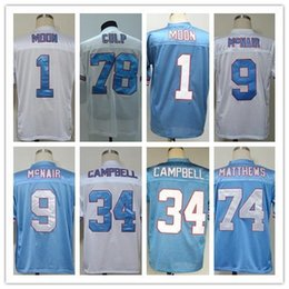 Wholesale White Campbell - Brand 2017 new CURLEY CULP WARREN MOON Steve McNair EARL CAMPBELL BRUCE MATTHEWS Men's Blue White Throwback Jerseys style shirts For Men
