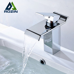 Wholesale Chrome Bathroom Sink - Wholesale- Free Shipping Single Lever Waterfall Basin Sink Mixer Taps Deck Mounted Hot and Cold Bathroom Sink Faucet
