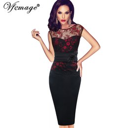 Wholesale Tunic Bridesmaid Dresses - yizhan Vfemage Women Sexy embroidered Floral Lace Tunic Party Evening Special Occasion Bridesmaid Mother of Bride Embroidery Dress 4075