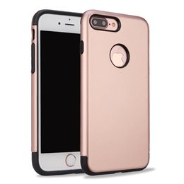 Wholesale Smoothing Plastic Phone Case - For iPhone 7 Plus 6 Plus 5S Black Rubber Hybrid Armor Smooth Phone Case Colorful PC Circle Inside Hole Soft Back Cover