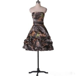 Wholesale Camo Mini Skirt - 2017 Ruched Skirt Camouflage Bridesmaid Dresses Short Zipper Back Strapless Country Style Camo Wedding Party Dress Gowns BN149