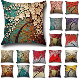 Wholesale Wholesale 3d Flower Bedding - 20 Colors 45*45cm 3D Flower Tree Printed Cotton Linen Throw Pillow Cushion Cover Seat Car Home Sofa Bed Decorative Pillowcase funda cojin