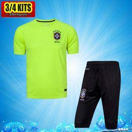 Wholesale Brazil Football Kits - 2017 Brazil Short Sleeve Training Suit 3 4 Pants Green kits 1718 Soccer Jerseys Chandal Tracksuits Uniforms Sets Survetement Football shirts