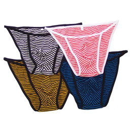 Wholesale Men S String Panties - Mens String Bikini Fashional Panties Front Pouch Stripes Poly Cotton spandex G242C Soft Comfort mens underwear