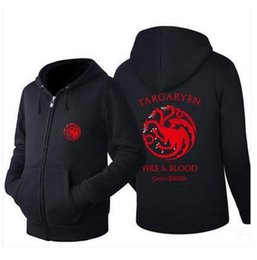 Wholesale Hot Fashion Games - New Arrival Game of Thrones Sweatshirts House Targaryen Jacket Sweatshirts Thicken Hoodie Zipper Coat Tops Hots