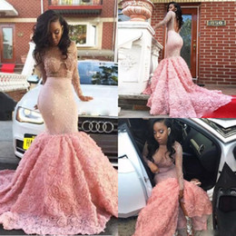 Wholesale Green Roses Pictures - Pink Charming Mermaid Prom Dresses 2k17 Long Sleeves Sheer Neck Sequins Beaded Evening Gowns Backless Rose Long Train Formal Party Dress