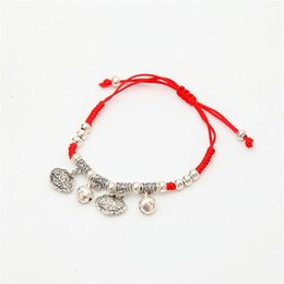 Wholesale Thin Bracelets Crystal - 7 Colors Austrian Crystal jewelry thin red thread string rope Charm Bracelets for women Fashion summer style