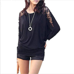 Wholesale Womens Batwing Tops - Women Ladies Loose Batwing Dolman Lace Long Sleeve Casual Top T Shirt M XXL Womens Tops Fashion Leisure Hollow Out Tshirt