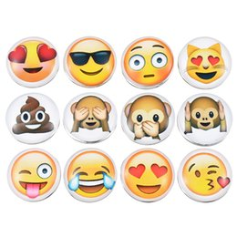 Wholesale Gold Bracelet 18mm - Wholesale- MJARTORIA 12PCs Cute Smile Cry Cool Emoji Face Glass Snap Buttons For Snap Jewelry DIY Fit Charms Bracelet Necklace 18mm