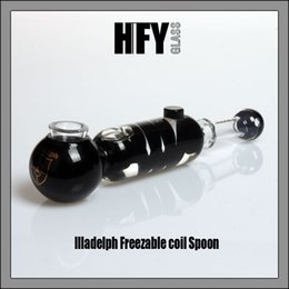 Wholesale Glasses Smoking - Illadelph Glass Freezable coil Spoon Hand Pipe Black with Gold Label bubbler water pipe glass smoking pipes tobacco pipe bong bongs