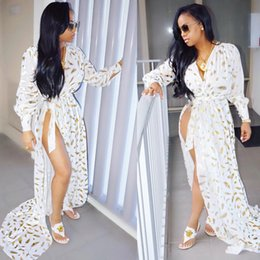 Wholesale Long Chiffon Slip - Women Deep V-Neck High Side Split Maxi Dress Ladies Long Sleeves Slip Party Dress With Golden Feather Print Ivory Wholesale Price Mix Order