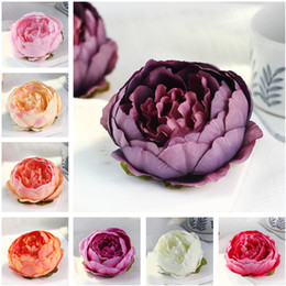 Wholesale Wall Decorations Flowers - 20pcs 10cm Artificial Flowers For Wedding Decorations Silk Peony Flower Heads Party Decoration Flower Wall Wedding Backdrop White Peony