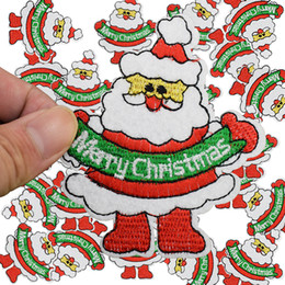 Wholesale Wholesale Christmas Iron Appliques - Diy father christmas patches for clothing iron embroidered patch applique iron on patches sewing accessories badge stickers
