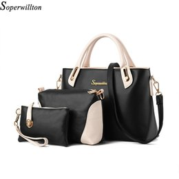 Wholesale china brand phones - Wholesale-Soperwillton China Brand 2016 Composite Bag Women Bags Set Soft PU Patchwork Panelled Fashion Shoulder Bag Ladies #664