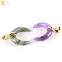 Wholesale Necklace Half Moon - CSJA 100pcs 2017 Natural Gem Stone Crescent Half Moon Pendants for Necklace Gold Plated Amethyst Spectrolite Charms Men Women Jewellery E303