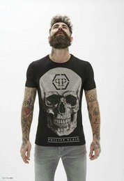 Wholesale Clear Brown Crystal - Hot Summer Tide Brand Cotton Short Fit Slim Casual Mens Tee Print 3D Skulls Rhinestone desinger MENS T-shirts Cotton quality P18270-8272