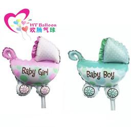 Wholesale Baby Shower Girl Balloons - baby car shower girl balloons for baby birthday decoration supplies Foil ballon baby stroller balloon