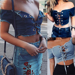 Wholesale Women S Sexy T Shirts - Fashion Denim Crop Top Strappy Croptop Off Shoulder Streetwear Sexy Short Sleeve Summer T-Shirts Lace Up Tops