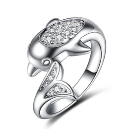 Wholesale Girl Dolphins - Europe and America Fashion Lovely Ring AAAA White CZ Dolphin Ring for Girls Women Nice Gift YHR-019