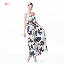 Wholesale Shift Gown - M-2xl Summer Tropical Dresses For Women sundress printing Floral Strap Shift Long Ladies Maxi Dress Sleeveless Fashion clothes