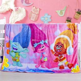 Wholesale Cartoon Bedding Wholesale - Kids Flannel Elsa Anna Trolls Blankets Winter Warm Super hero Blankets infant Swaddling cartoon baby bed sheet Sleeping Bag 1*1.4m C1824