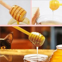 Wholesale Wholesale Jars Spoon - 15cm Long Mini Wooden Honey Stick Dipper Party Supply Wood Honey Spoon Stick for Honey Jar Stick