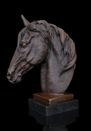 Wholesale Horse Bronze Sculpture - Arts Crafts Copper ATLIE Factory Bronze sculpture Horse Head Figurine Animal Bust Statue Marble Brass Horse Statues Gifts Souvenirs