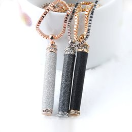 Wholesale Long Diamond Necklaces - Fashion Rose Gold Silver Long Ice Out Chain Necklace Black Grey White Cylinder Pendant Sweater Necklace Hip Hop Jewelry
