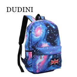Wholesale Book Bag Color - Wholesale- DUDINI Fashion Women Stars Universe Space Printing Backpack School Book Backpacks British Flag Stars Bag 4 Color Style