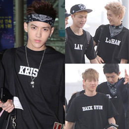 Wholesale Exo Wolf Shorts - Wholesale-NEW k-pop EXO WOLF XOXO Album special T-shirt luhan se hun baekhyun kris tao lay do chen