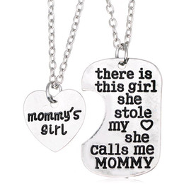 Wholesale Girls Love Necklaces - Free Shipping Heart Silver Jewelry Girl Stole Heart Mommy Daddy Family Love Pendant Necklaces Mother's Day and Father's Day Gift