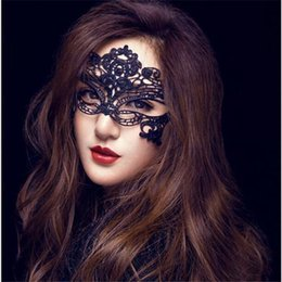 Wholesale Half Silicone Masks - Fashion Sexy Lace Party Masks Women Ladies Girls Halloween Xmas Cosplay Costume Masquerade Dancing Valentine Half Face Mask