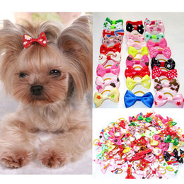 Wholesale Christmas Dog Hair Accessories - Assorted Pet Cat Dog Hair Bows with Rubber Bands Grooming Accessories Cute Pet Headwear for Small Dogs Christmas Gift