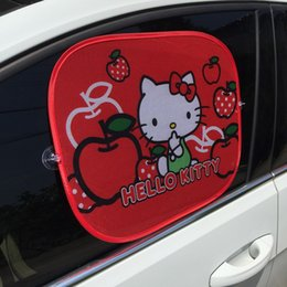 Wholesale Red Car Sun Shade - Wholesale- 2PCS RED HELLO KITTY Car Sun Shade Windshield Cute Cartoon Rear Side Sunshade Size 44cm*36cmProtect Window Film Car Styling