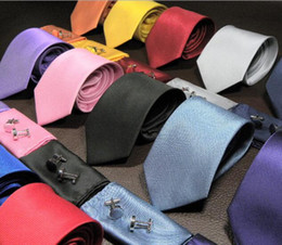 Wholesale Necktie Hanky Cufflinks Handmade - New hot sale Fashion Solid color Silk Neck Ties For Men Neckties three-piece suit Handmade Wedding Ties 145cm width 8cm 15 Color Necktie Set