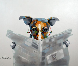 Wholesale Puppy Paintings - Framed, R392# Handpainted Modern Abstract Art Oil Painting TERRIER PUPPIES FUNNY,On High Quality Canvas Home Wall Decor Multiple size