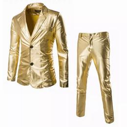 2019 último diseño de traje de cuello Blazer Mens Slim Fit Trajes con pantalones Wedding Groom Latest Coat Design Mens Stage Wear Dress Trajes Gold Blazer para hombres Cantantes último diseño de traje de cuello baratos
