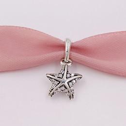 European beads starfish en Ligne-Perles en argent Sterling 925 Étoile de mer tropicale, charms clairs en Cz, convient au collier de bijoux de style Pandora européen 390403CZ