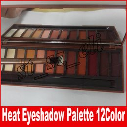 Wholesale Heat Brush - HEAT Eyeshadow Palette 12 Colors Professional Makeup Case Cosmetics set Make up Set With Makeup Brushes Hot Heat