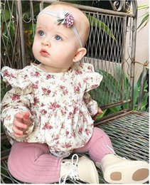 Wholesale Fresh Clothing - Retail 2018 Spring New Baby Girl Bodysuits Floral long sleeve Fresh jumpsuit Baby Clothing 0-3T H739